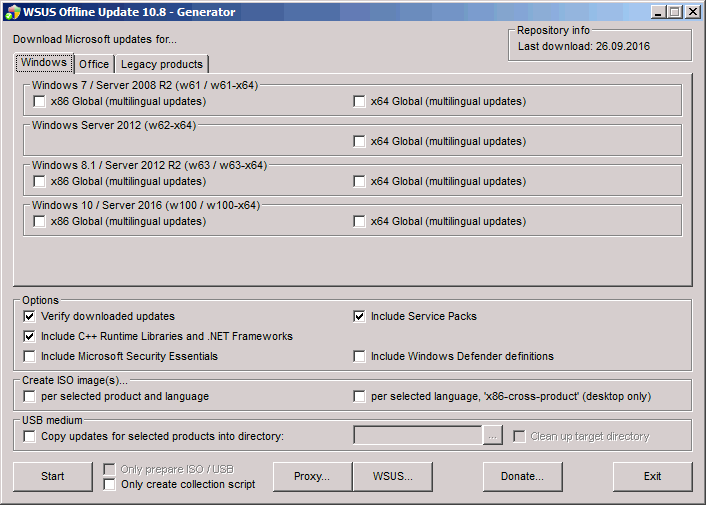 wsusoffline generator WSUS Offline Update   Microsoft Patches Without an Internet Connection